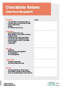 Titel der Broschüre Checkliste Reisen