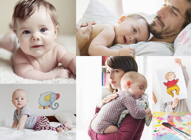 Babys mit RSV und deren Eltern in Alltagssituationen
