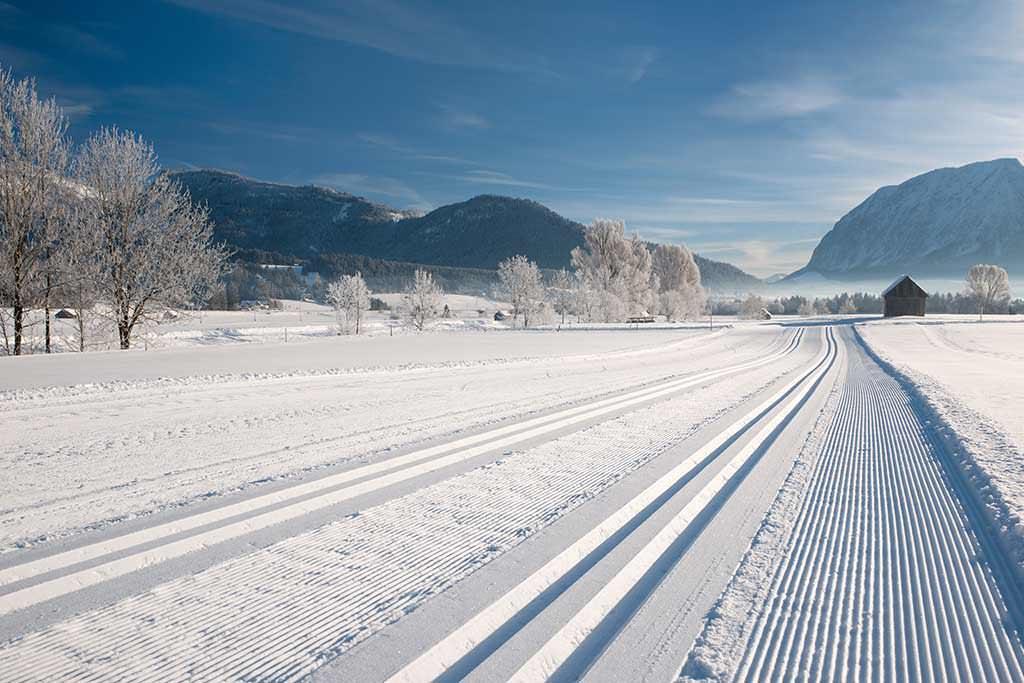 Schneelandschaft mit Skispuren im Schnee.
