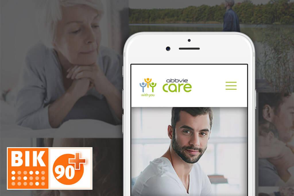 Smartpohne auf dem die AbbVie-Webseite angezeigt wird