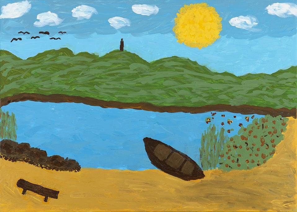 Kunstwerk mit dem Titel Seelandschaft – Inspiration zu einer Kanufahrt.