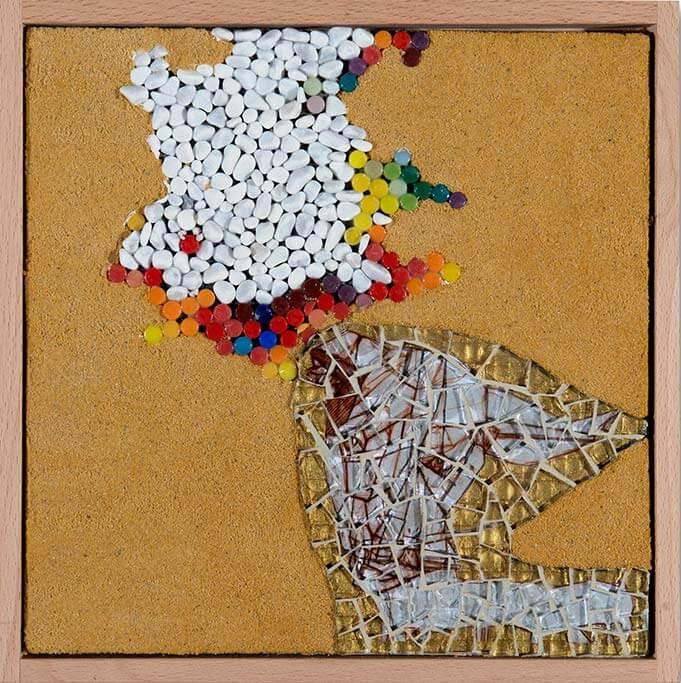Kunstwerk mit dem Titel Aufbruch aus meiner grauen Zelle.
