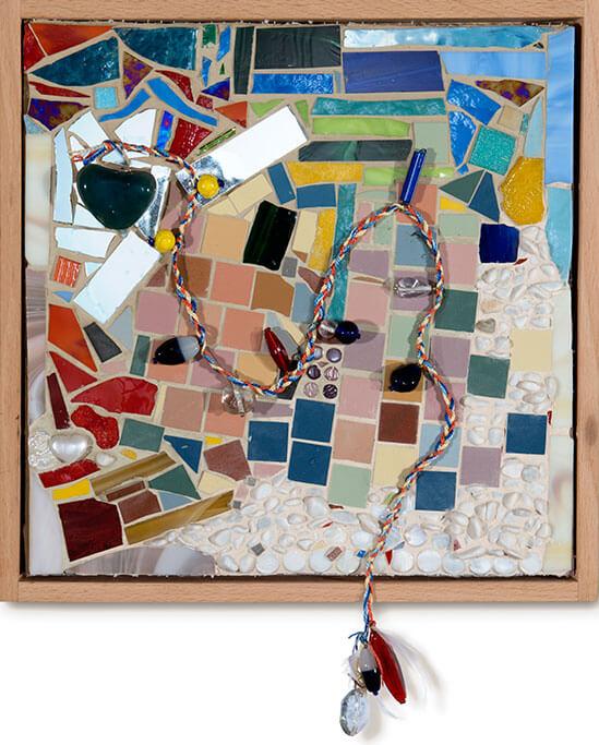 Kunstwerk mit dem Titel das Virus ist eliminiert, der Stempel bleibt lebenslang.