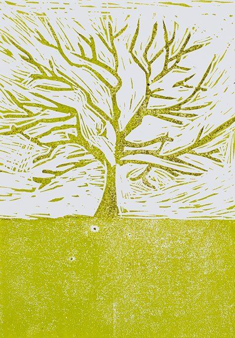 Kunstwerk mit dem Titel der Jahreszeitenbaum.