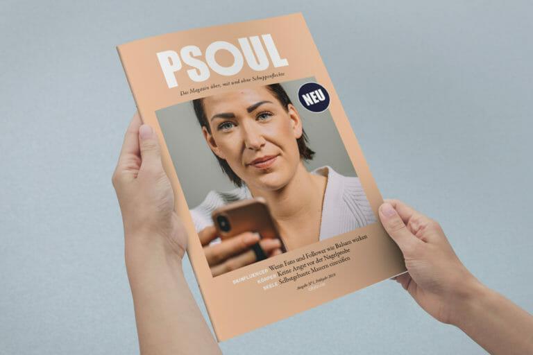Titelcover des PSOUL Magazin über, mit und ohne Schuppenflechte.